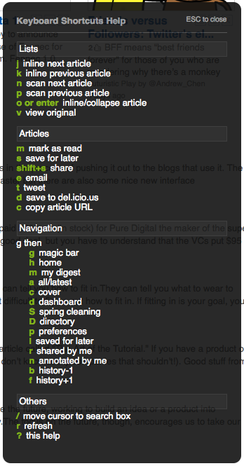 Feedly Keyboard Shortcuts as of 1.2.218