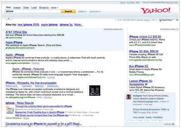 Yahoo Search Overlay