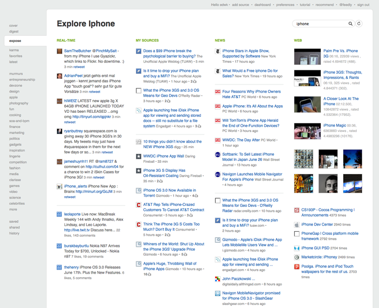 Feedly Explore Page