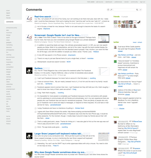 feedly now supports Google Reader Friends and Comments