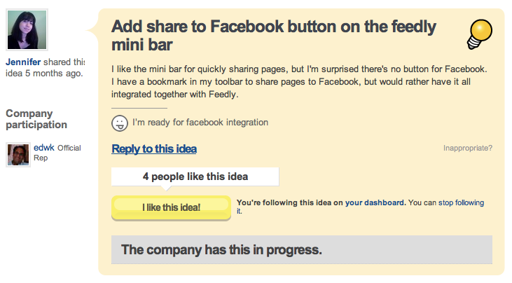 getsatisfaction - feedly mini + facebook