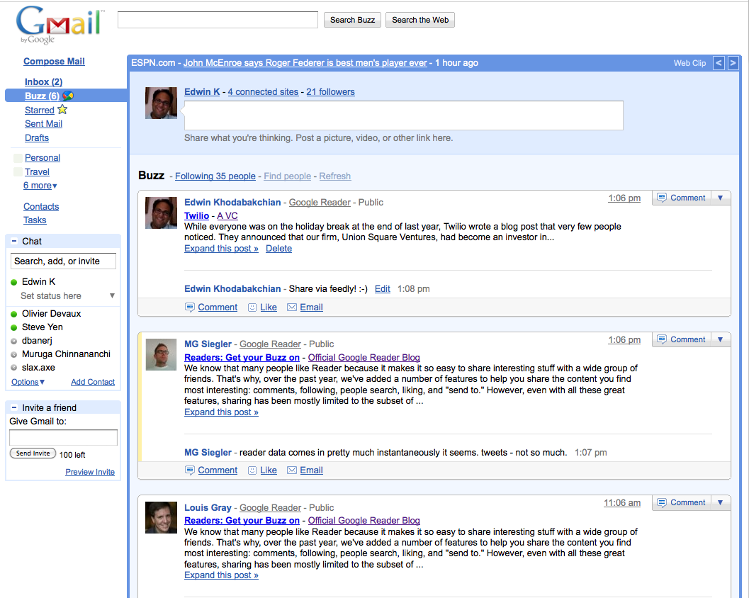 Feedly + Google Buzz + Conversations