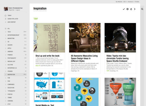 Example of a Feedly RSS Reader, Source: Feedly.com