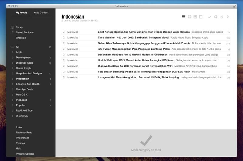 Create Your Own Feedly Mac App Using Fluid Feedly - feedly screenshot