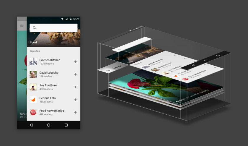 feedly, material design